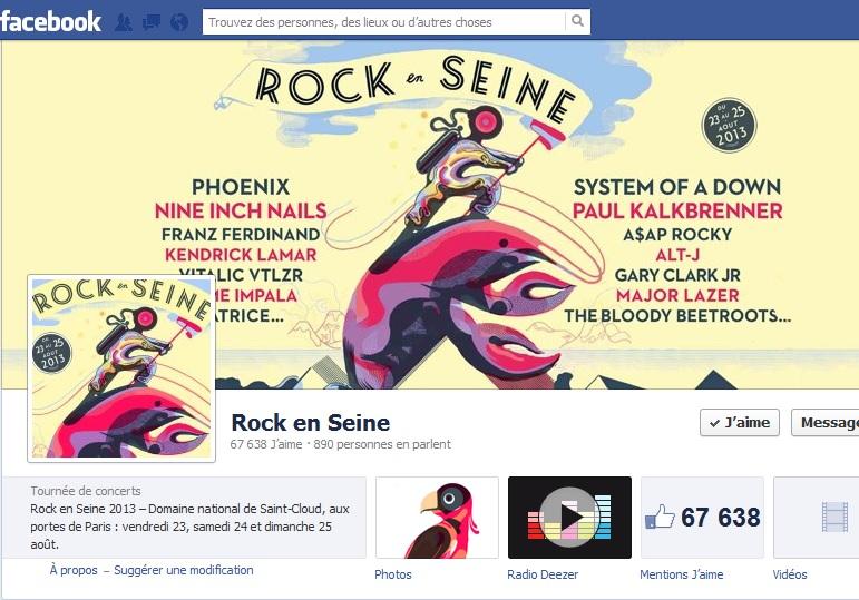 Page d'accueil de la page facebook de Rock en Seine