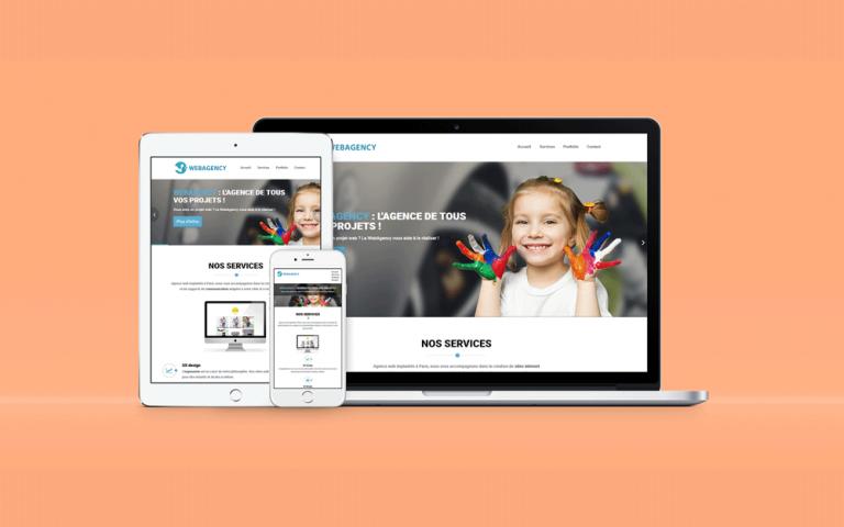 Page d'accueil du site internet d'une agence web nommée WebAgency